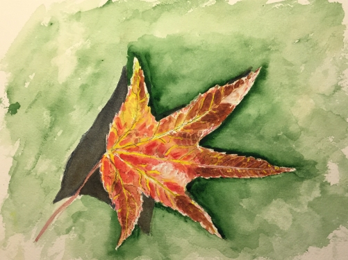 Watercolor: Representational - Red Leaf