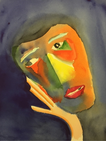 Watercolor: Abstract Portrait ala Klee and Jawlensky