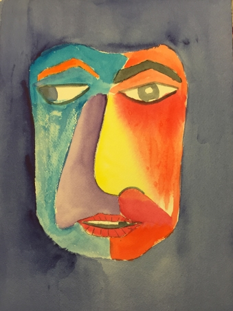 Watercolor: Abstract Mask Head