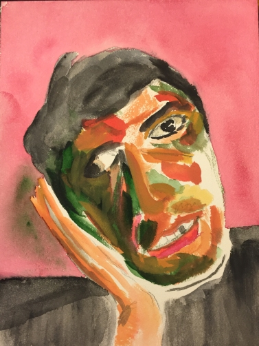 Watercolor: Portrait Abstract Brother Mike Crying