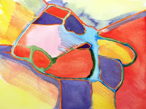 Watercolor: Abstract Primary Blocks of Color Surrounded by Secondary Colors