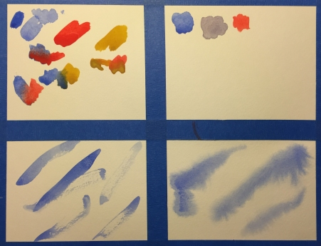Chart with 4 panes for practicing with watercolors