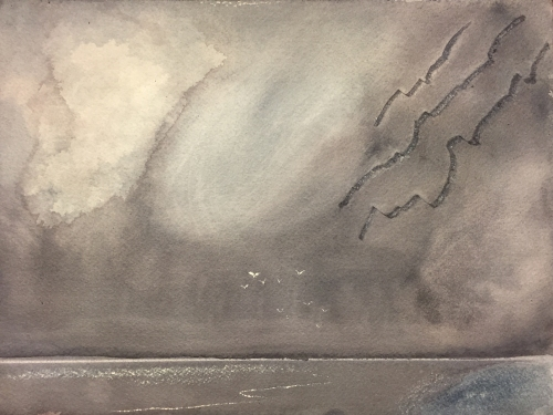 Watercolor: Storm Scene Using Paint Removal Techniques