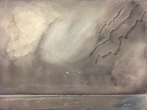 Watercolor: Storm Scene Using Paint Removal Techniques