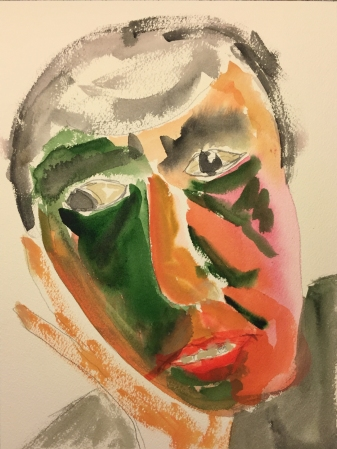 Watercolor: Abstract, Stylized Portrait of Mike #1