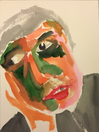 Watercolor: Abstract, Stylized Portrait of Mike #2
