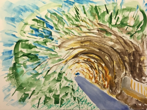 Watercolor: Abstract - Dream Image of Horizontal Trees