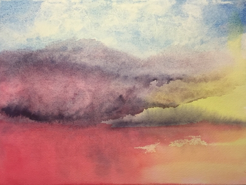Watercolor: Abstract Variegated Wash That Resembles a Landscape