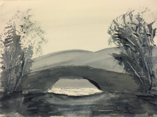Watercolor: Bridge Inspired by Cotman with Trees inspired by Cozens