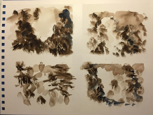 Watercolor Chart: Random Brushmarks to Make a Collection of Trees