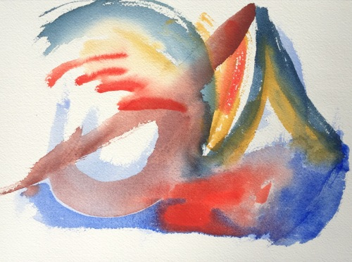 Watercolor: Abstract with Cobalt and Prussian Blue, Terra Rosa and Yellow Ochre