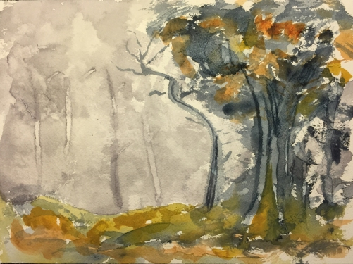 Watercolor: Composition in the Style of John-Baptiste-Camille Corot