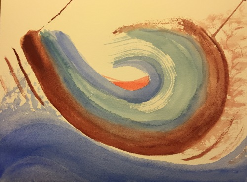 Watercolor: Abstract Terra Rosa '6' with Red Core, Surrounded by Blue