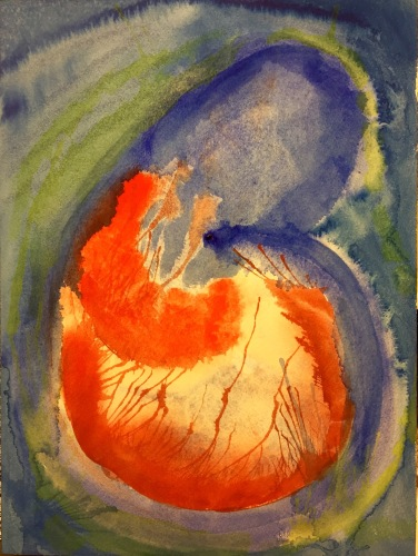 Watercolor: Abstract in Blue, Green and Red
