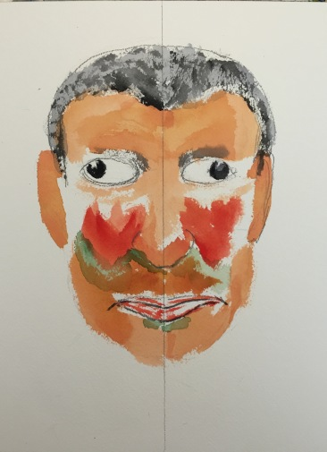 Watercolor: Half Portrait, Wall-Eyed Mike