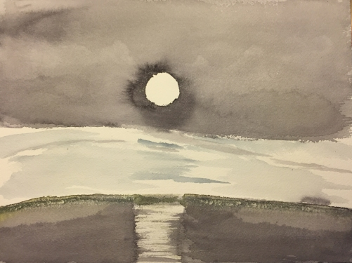 Watercolor: Moon Reflection Over Snow and Water