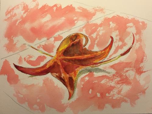 Watercolor: Red Leaf on Pink Sidewalk