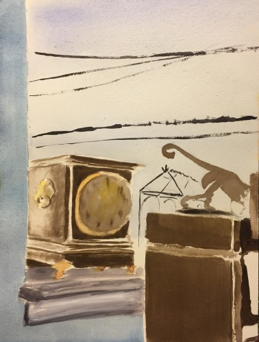 Watercolor: Still Life with Clock, Window and Bookshelf