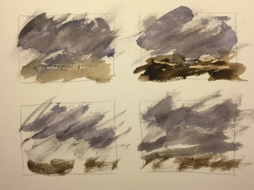 Watercolor Chart: 4 Vignettes of Storms in Gray and Burnt Umber
