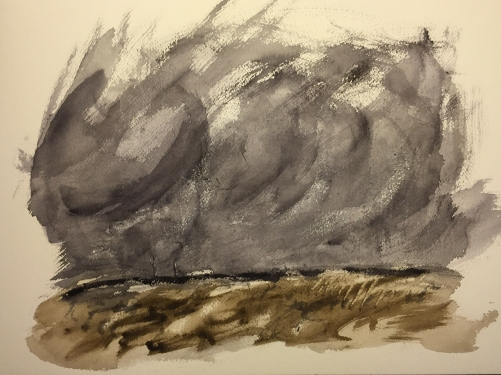 Watercolor: Violent Sky from Neutral Tint and Burnt Umber