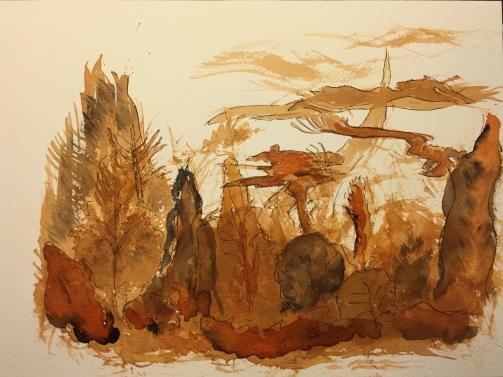 Watercolor: Blot Painting Using Fan Brush