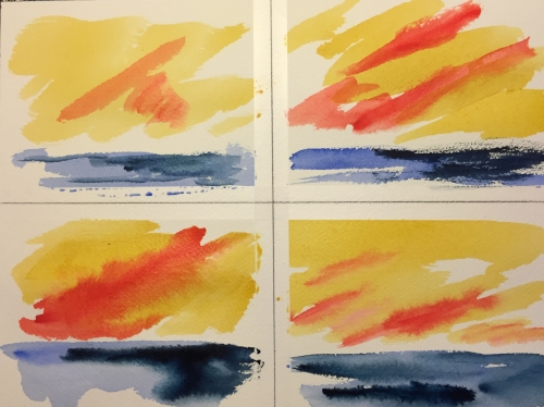 Watercolor: 4 pictures of a Turner Sunset