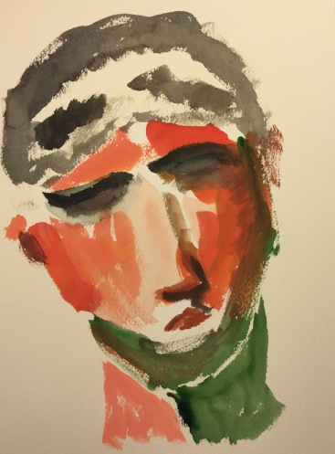 Watercolor: Portrait of Mike from Frame 1 of 8mm Movie