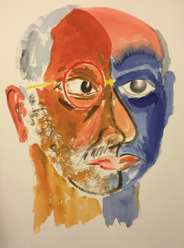 Watercolor : Abstract Expressionistic Self Portrait