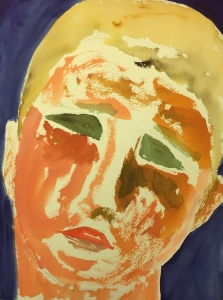 Watercolor: Abstracted Large Portrait of a Child