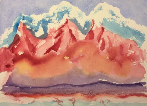 Watercolor : Fantasy on Mountains