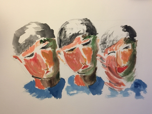 Watercolor: Abstract Expressionist - Three Sequential Portraits