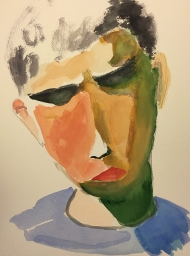 Watercolor: Abstract Expressionist Portrait - Mike Frame #2