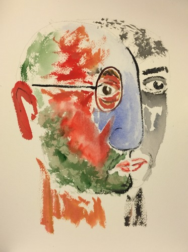 Watercolor: Abstract - Self Portrait with Blue Nose