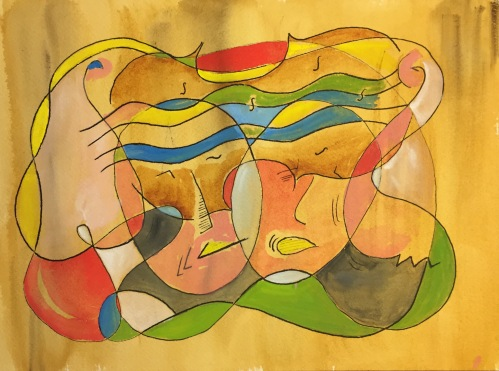 Watercolor: Abstract - 4 Portraits and Violin