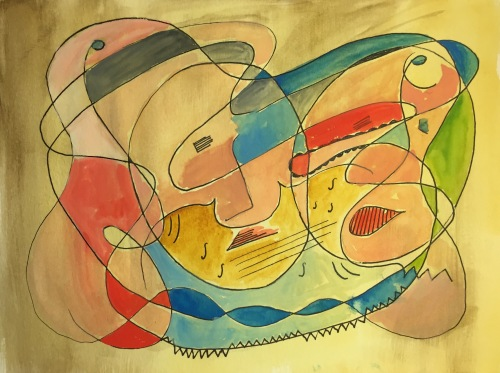 Watercolor: Abstract - 4 Portraits and Violin #2