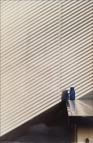 Photograph: Blue Bottle and Stripes