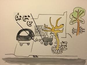 Watercolor, Pen and Ink - Highlighting Pumpkin Symbols