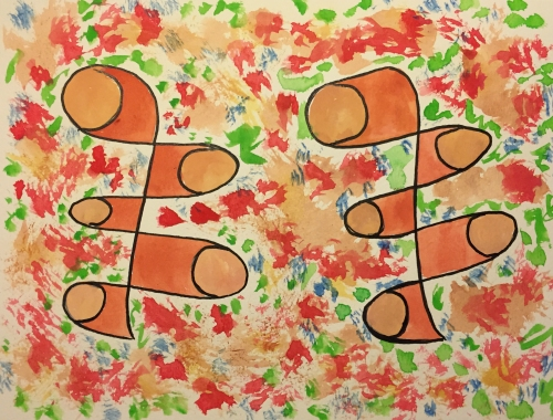 Watercolor: Abstract with Piggies