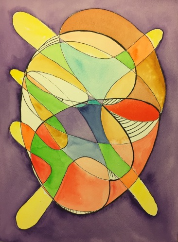 Watercolor: Abstract - Free Form Shape with Ovals