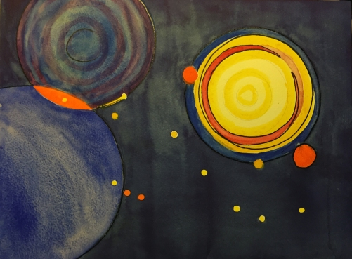 Watercolor: Abstract Circles with Pen and Ink