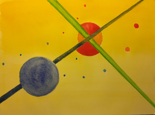 Watercolor: Abstract Circles and Crossed Lines