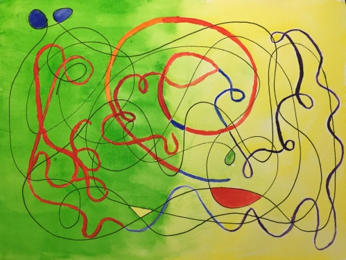 Watercolor: Abstract Green Fading to Yellow with Squiggles