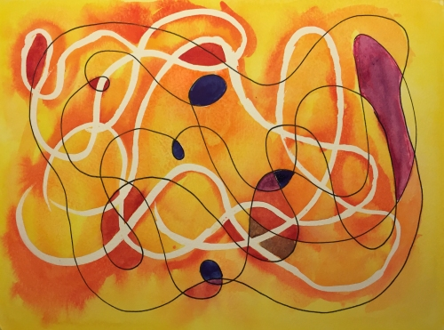 Watercolor: Abstract with Latex Resist and Pen Free Forms