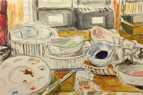 Watercolor and Pencil Sketch: Artist's desktop