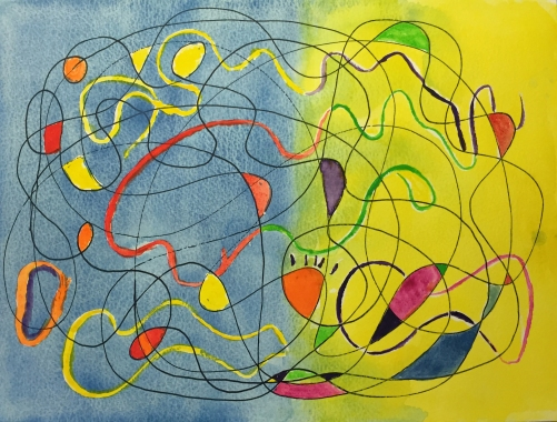 Watercolor: Abstract Free Form with Filled in Forms
