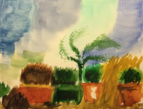 Watercolor: Abstract Bushes, Trees and Sky
