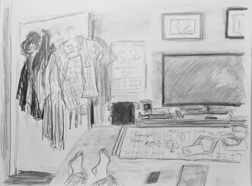 Drawing: Gray Scale Study of Home after a Trip
