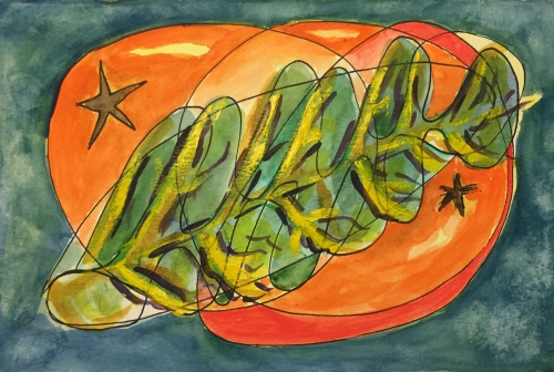 Watercolor: Abstract of Leaf and Loquat