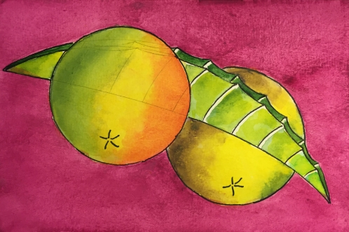Watercolor: Abstract Loquat Fruit and Leaf