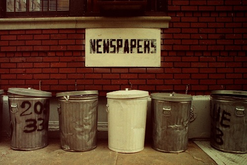 Photograph: NYC Trash Cans and Newspaper Barrel